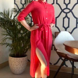 GAP Maxi Shirt Dress with High Side Slits